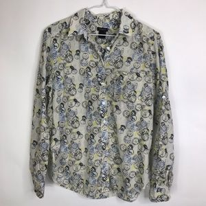Ann Taylor Postage Stamps Button Long Sleeve Top